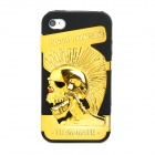 Creative Chief Skull Pattern Silicone + Plastic Back Case for Iphone 4 / 4S - Golden + Black