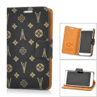 JILIS Cute Flower Pattern PU Leather Case for Samsung Galaxy S4 i9500 - Black + Brown