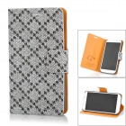 JILIS Rhombus Pattern PU Leather Case for Samsung Galaxy S4 i9500 - Black + Offwhite