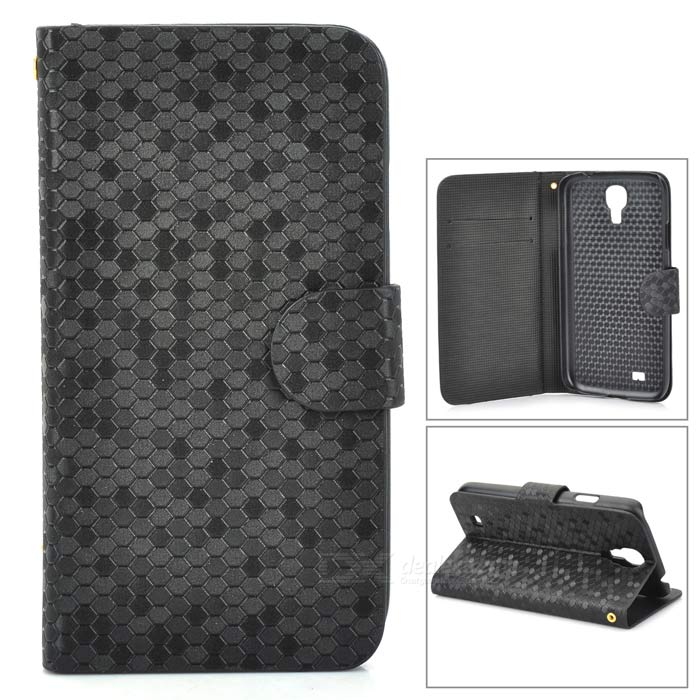 Protective Fish Skin PU Leather Case for Samsung Galaxy S4 / i9500 - Black cool snake skin style protective pu leather case for samsung galaxy s3 i9300 black