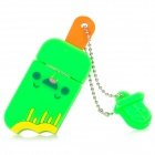 Ice-Lolly Stil USB 2.0 Flash Drive Disk-w / Kette - Grün + Gelb + Orange (4GB)