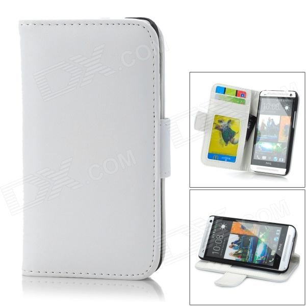 Protective PU Leather + PC Case w/ Card Holder for HTC One M7 - White + Black genuine leather protective flip open case for htc one m7 black