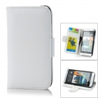 Protective PU Leather + PC Case w/ Card Holder for HTC One M7 - White + Black