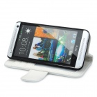 Protective Leather PU + PC Caso w / Titular para HTC One M7 - branco + preto