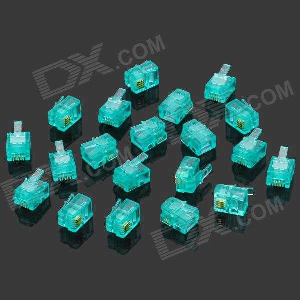 цена на 6P4C Modular Plug / Jack Telephone Connectors - Translucent Blue (20 PCS)