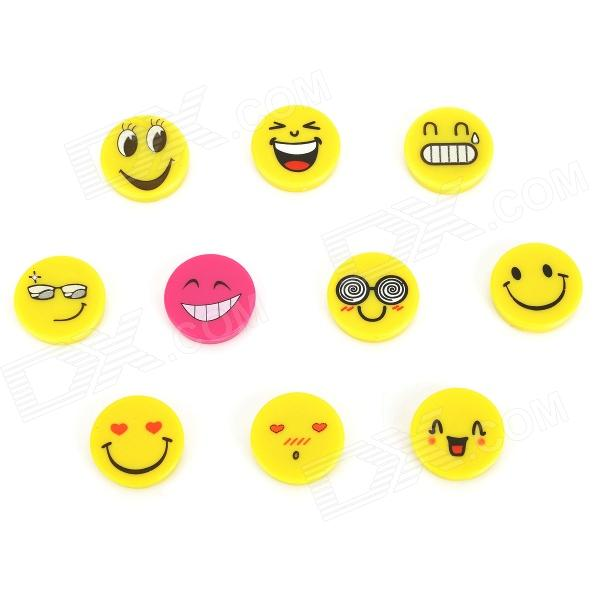 FUNI CT-6657 Cute Cartoon Face Pattern Round Magnet Stickers - Yellow + Deep Pink (10 PCS) cartoon cute chicken leather magnet