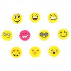 FUNI CT-6657 Cute Cartoon Face Pattern Round Magnet Stickers - Yellow + Deep Pink (10 PCS)