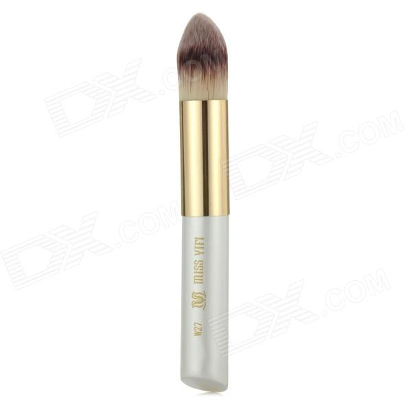 Professional Bullet Style Cosmetic Make-Up Foundation Soft Brush - Golden + White