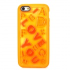 "Romantic ""Love"" Style Glow-in-the-Dark TPU Back Case for Iphone 5 - Orange Yellow"