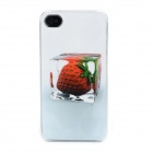 Strawberry Ice Cube Pattern Protective Plastic Back Case for iPhone 4 - White + Red + Grey