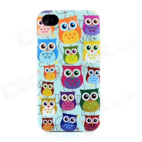 Cute Cartoon Owl Patterns Protective Plastic Back Case for Iphone 4 / 4S - Multicolor