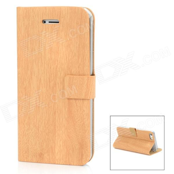 Bamboo Texture Design Protective PU Leather Flip-Open Case for Iphone 5 - Wooden Color elegant protective rhinestone pu leather flip open case for iphone 5 5s black silver