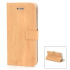 Bamboo Texture Design Protective PU Leather Flip-Open Case for Iphone 5 - Wooden Color