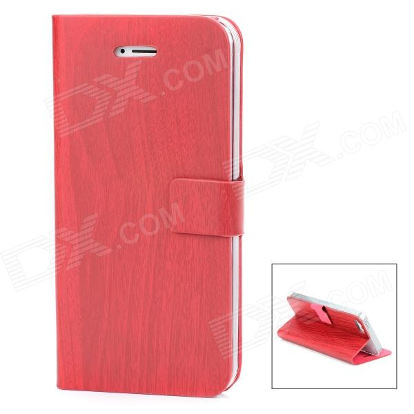 Bamboo Texture Design Protective PU Leather Flip-Open Case for Iphone 5 - Deep Red protective flip open pu leather case for nokia 1520 red