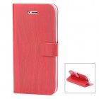 Bamboo Texture Design Protective PU Leather Flip-Open Case for Iphone 5 - Deep Red