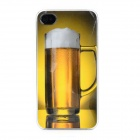 Glass of Beer Pattern Protective Plastic Back Case for Iphone 4 - Yellow + White