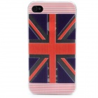 The Union Jack Pattern Relief Design Protective ABS Back Case for Iphone 4 / 4S - Red + Blue