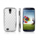 ENKAY Bling Diamond Encrusted Plating Plastiic Case for Samsung Galaxy S4 / i9500 - Silver + White