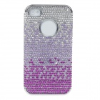 Protective Crystal decorated PVC Back Case for Iphone 4 / 4S - Purple + Silver
