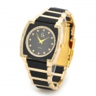 Gemax 6222 Square Analog Quartz Wrist Watch for Women - Black + Golden