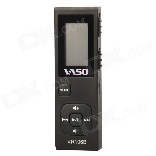 VR106B 1.5 LCD Digital USB Rechargeable Voice Recorder w/ 4GB + TF card Slot - Black