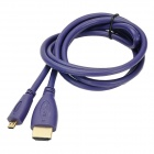 MILLONWELL 01.0301 24K Gold-Plated Micro HDMI to HDMI 1.4 Adapter Cable - Purple (1.2m)