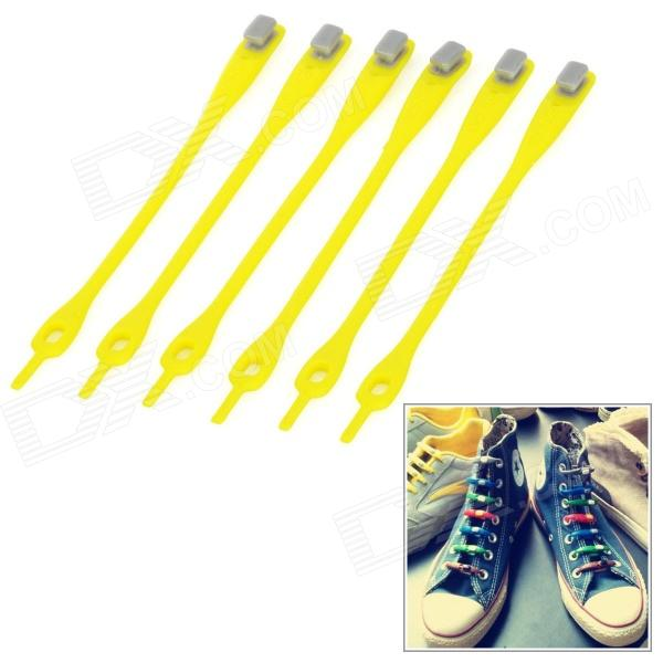 Creative Fashion Lazy Sports Rubber Shoelaces - Yellow + Grey (6PCS)