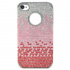 Protective Rhinestone + PVC Shining Back Case for Iphone 4 / 4S - Red + Pink + Silver