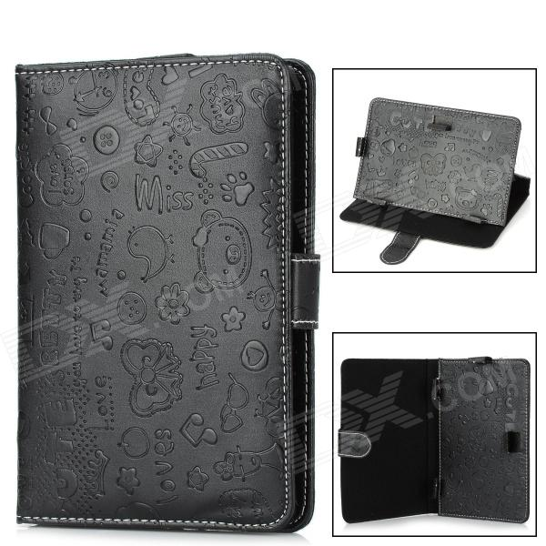 Universal Cartoon Style Protective PU Leather Case for 7 Tablet PCs - Black universal 61 key bluetooth keyboard w pu leather case for 7 8 tablet pc black