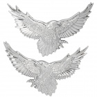 3D Flying Eagle Style Plastic Car Decoration Sticker - Silver (2 PCS)
