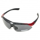 ESDY 0089AC Cool Outdoor Sports Driving Polarized Goggles w/ Replaceable Lens - Black + Red