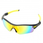ESDY 0094AC Cool Outdoor Cycling Revo Lens Goggles w/ Replaceable Polarized Lens - Yellow