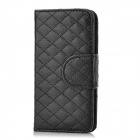 Checked Style Protective PU Leather Case for Iphone 5 - Black