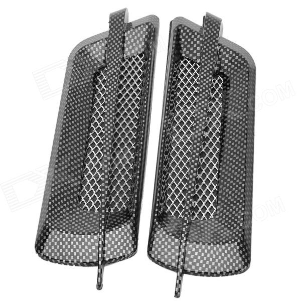 Decorative Carbon Mesh Sticker for Car Air Condition Vent - Black + Grey (2 PCS) 3pcs oem black piano paint chrome car center console air condition vents for passat b6 b7 cc r36 3ad 819 701 a 3ad 819 702 a