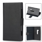 Protective PU Leather Case w/ Card Holder for Nokia Lumia 920 - Black