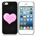 Cute 3D Love Heart Style Protective Plastic Back Case for Iphone 5 - Black + Pink