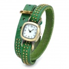Cow Split Leather Band Rivet Quartz  Bracelet Watch for Women - Green + Bronze