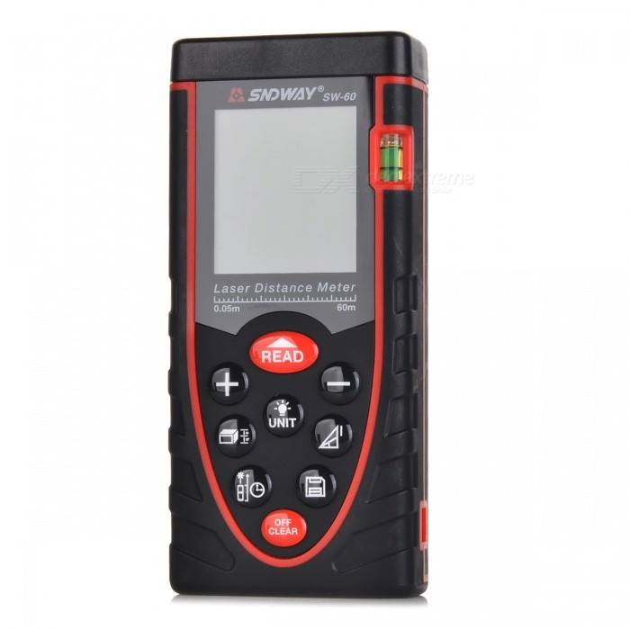 SNDWAY SW-D60 Handheld 1.9 Plastic Laser Distance Meter / Rangefinder - Black + RedLaser Rangefinder, Electronic Distance Meter<br>ModelSWQuantity1 setForm  ColorBlackMaterialPlasticDetection Range-Measuring Accuracy-Powered ByAAA Battery,-Battery included or notYesEnglish Manual / SpecYesOther FeaturesMeasuring volume, area, length, pythagorean indirect measurement, max. value and min. value. 1.9 LCD, max measuring distance: 60m, precision: +/-2mm; Continual measuring function: yes; Measuring unit: mm/in/ft; Add and substract measurement function: Yes; Max storage: 99 units; With backlight, button sound; Laser type: class 2 635nm, Packing List1 x Laser rangefinder1 x Pouch3 x AAA batteries (16cm)1 x Chinese user manual1 x English user manual<br>