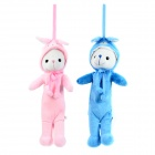 Cute Plush Couple Bear Style Pendant  Pouch Pencil Case - Pink + Blue + White (2 PCS)