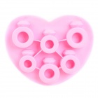 Silicone Heart Shape 6-Component Ice Cubes Trays Maker DIY Mould - Pink