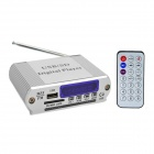 5 x 1 cm-Schirm-Digital-MP3-Player w / RGB-Licht / USB / FM / SD / 3,5 mm Audio-Out - Silber