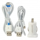 MS-8 3-in-1 Dual USB Car Charger + Micro to USB + 8pin Lightning to USB Cable for iPad 4 + More