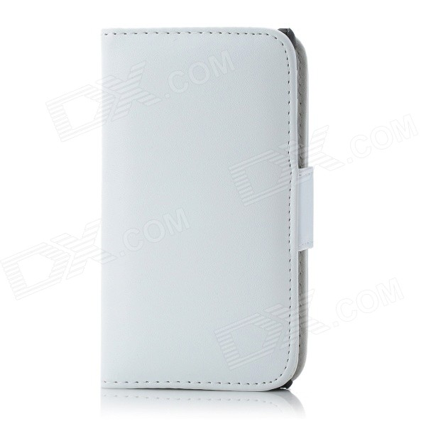 Protective PU Leather + Plastic Case w/ Card Holder for Sony Xperia Z L36h - White pu leather rfid card case badge plastic id card holder for employee fair 10pcs lot