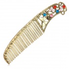 C01307 Retro Flying Bufferfly Style Hollowed-Out Copper + Metal Comb - Copper