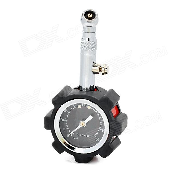 High Precision Stainless Steel + ABS Car Tire Pressure Gauge / Meter w/ Reset Function - Black