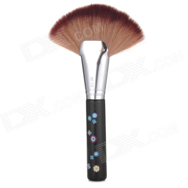 Multi-Functional Fan-Shaped Cosmetic Makeup Powder Brush - Black + Silver + Brown
