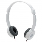 W2012 Portable 3.5mm Jack Headband Headphone - White + Silver + Red