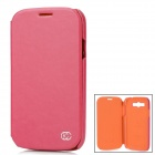 Kuchi Protective PU Leather Flip Open Case for Samsung i9082 - Deep Pink