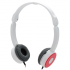 W2012 Portable 3.5mm Jack Headband Headphone - White + Red + Silver