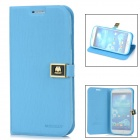 Protective PU Leather Case w/ Car Slot / Strap for Samsung Galaxy S4 / i9500  - Blue